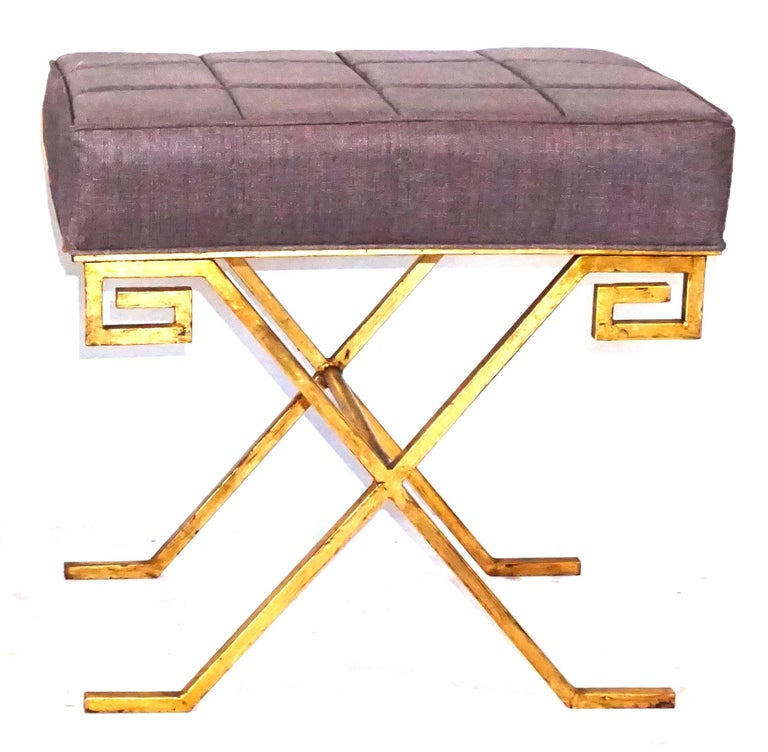 Hand-Crafted 20th Century French Pair of Gold Iron Benches by Jean Michel Frank