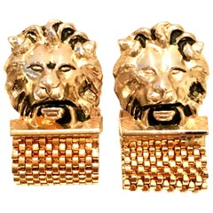 "20th Century Pair Of Gold Metal Mesh ""Lion""  Cufflinks By, Swank"