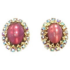 20th Century Pair Of Gold, Molded Glass & Austrian Crystal Earrings