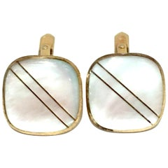 20th Century Pair Of Gold & Mother Of Pearl Cufflinks
