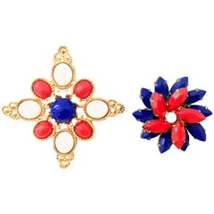 20th Century Pair Of Gold Patriotic Brooches By, Sarah Coventry