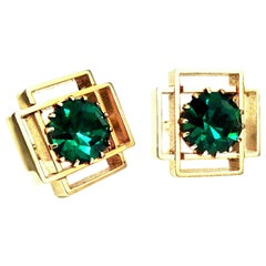 20th Century Pair Of Gold Plate & Austrian Crystal Geometric Cufflinks
