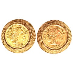 """20th Century Pair Of Gold Plate Greek """"Alexander The Great"""" Coin Earrings"""