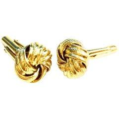 """20th Century Pair Of Gold Plate """"Love Knot"""" Cufflinks"""