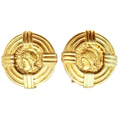 20th Century Pair Of Gold Plate Roman Coin Earrings By, Carolee