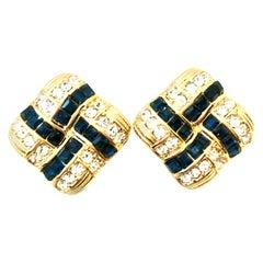 20th Century Pair Of Gold Plate & Swarovski Crystal Earrings By, Nolan Miller