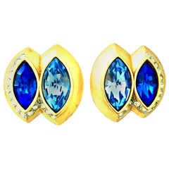 20th Century Pair Of Gold & Sapphire Blue Swarovski Crystal Earrings By, Monet