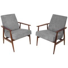 20th Century Pair of Gray Dante Armchairs, H. Lis, 1960s