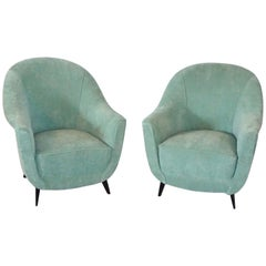 20th Century Pair of Green Italian Club Chairs