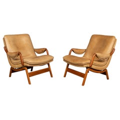 20th Century Pair of Ikea Leather & Teak Chairs, 1960s