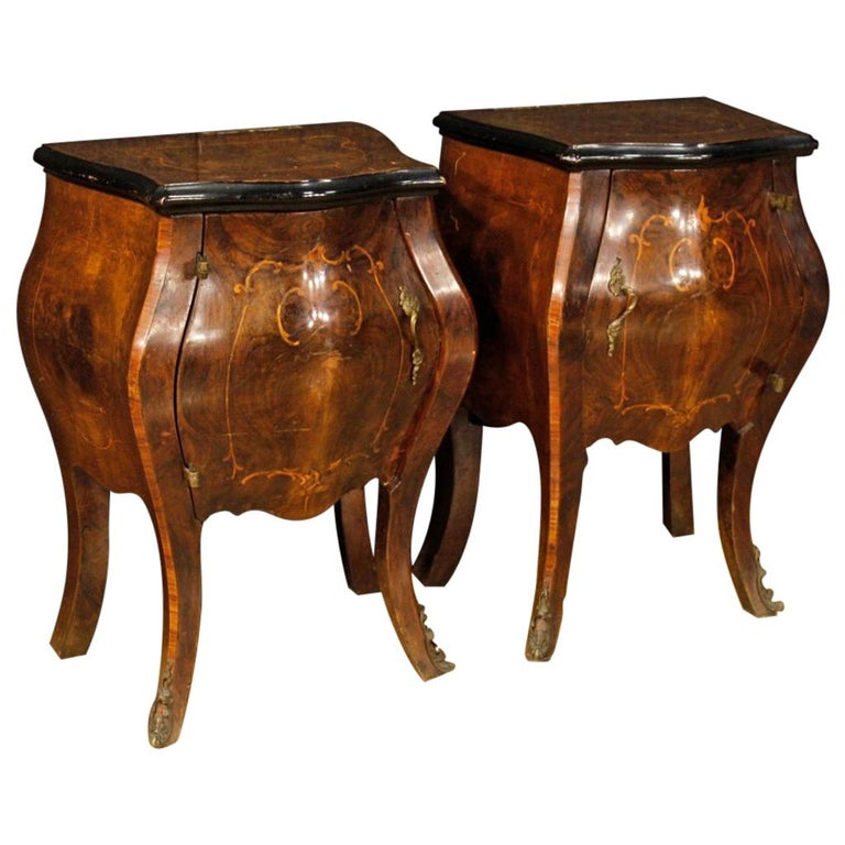 20th Century Pair Of Inlaid Wood Italian Bedside Tables 1950 For