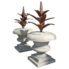 20th Century Pair of Italian Agave Finials in Hand Carved Limestone
