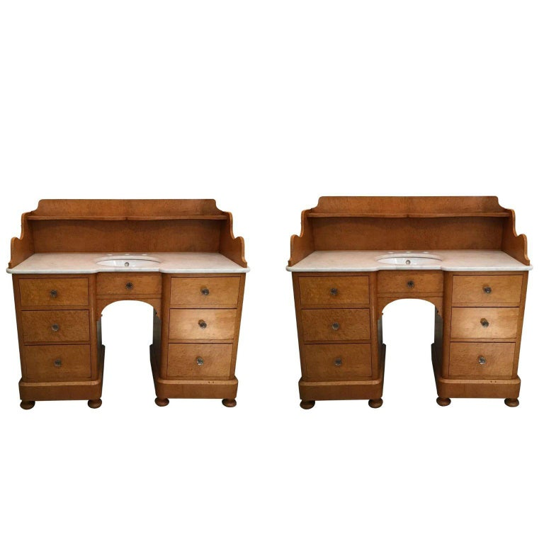 20th Century Pair of Italian Brier-Root Veneer with Carrara Marble Wash Cabinets For Sale