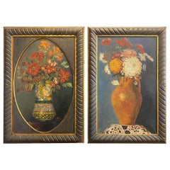 Pair of Italian Flower Still life Paintings 20th Century Signed Green Frames