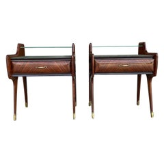 20th Century Pair of Italian Nightstands, Rosewood Side Tables by Paolo Buffa