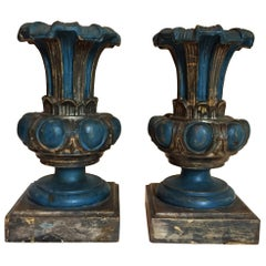 20th Century Pair of Italian Renaissance Style Blue Lamp Bases Center Vases