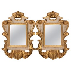 20th Century Pair of Italian Small Mirrors Gold-leaf and White Scrolling Carving