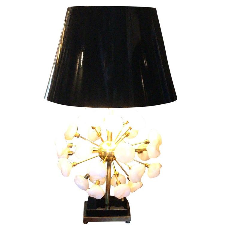 Mid-Century Modern 20th Century Pair of Italian Brass Table Lamps, Tall Murano Lamps by Nardo For Sale