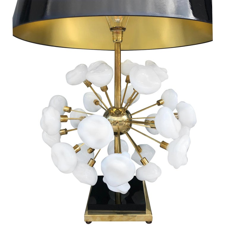 Hand-Crafted 20th Century Pair of Italian Brass Table Lamps, Tall Murano Lamps by Nardo For Sale