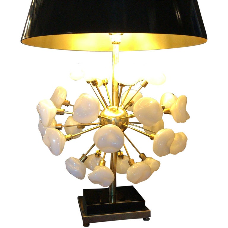Metal 20th Century Pair of Italian Brass Table Lamps, Tall Murano Lamps by Nardo For Sale