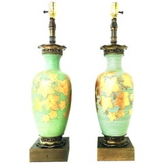 20th Century Pair of Italian Venetian Glass 22-Karat Gold and Bronze Table Lamps