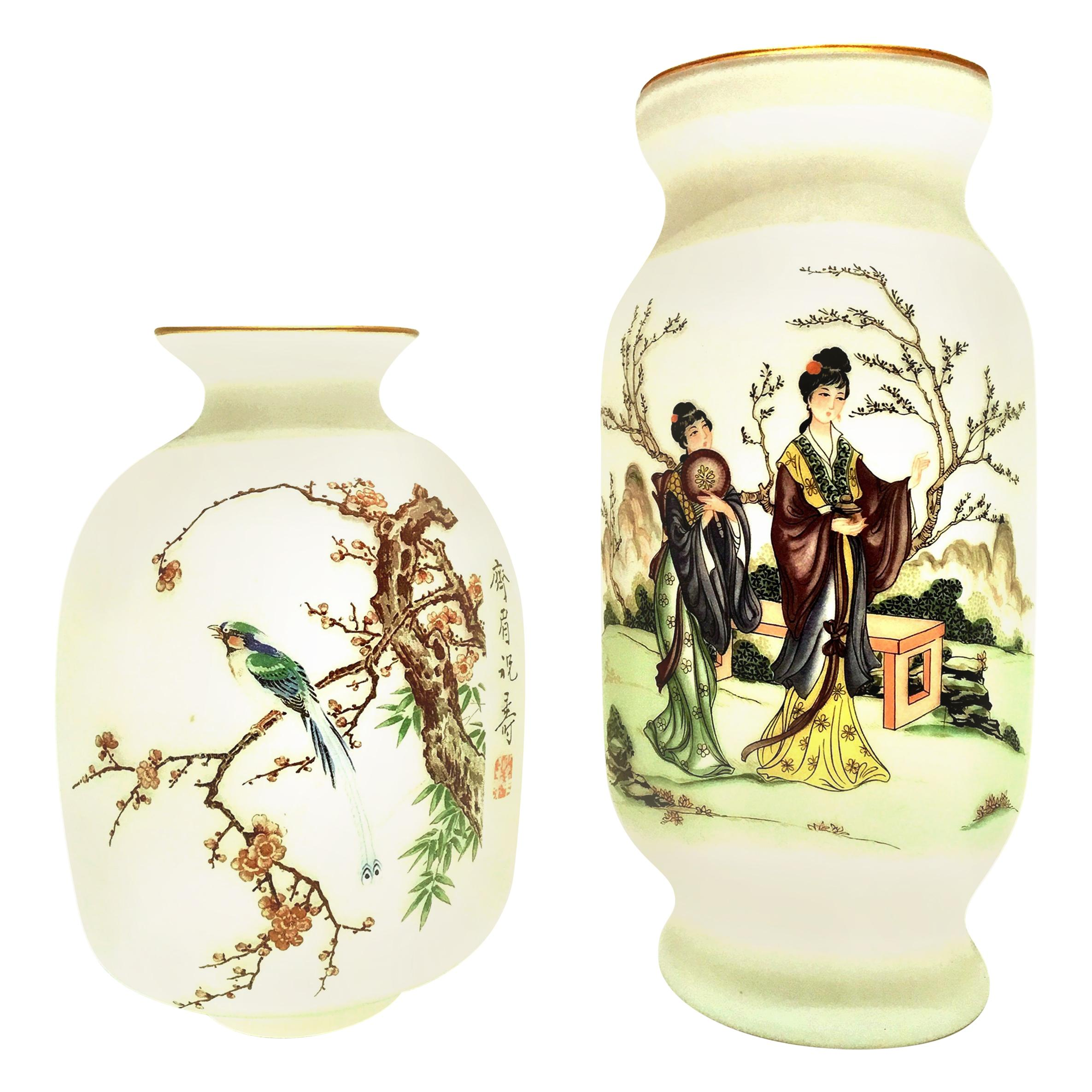 20th Century Pair of Japanese Hand Painted Satin Glass Vases