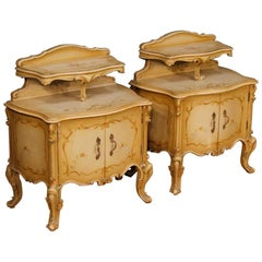 20th Century Pair of Lacquered and Painted Wooden Venetian Bedside Tables, 1950