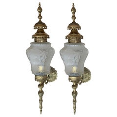 20th Century Pair of Large French Bronze and Glass Sconces
