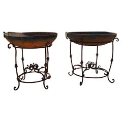 20th Century Pair of Large Iron Braziers