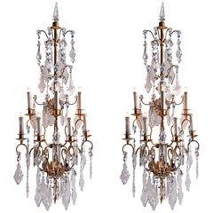 20th Century Pair of Large Italian Crystal Sconces Gilt Iron Baguès Style