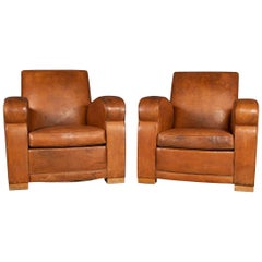 20th Century Pair of Leather Club Chairs, circa 1930