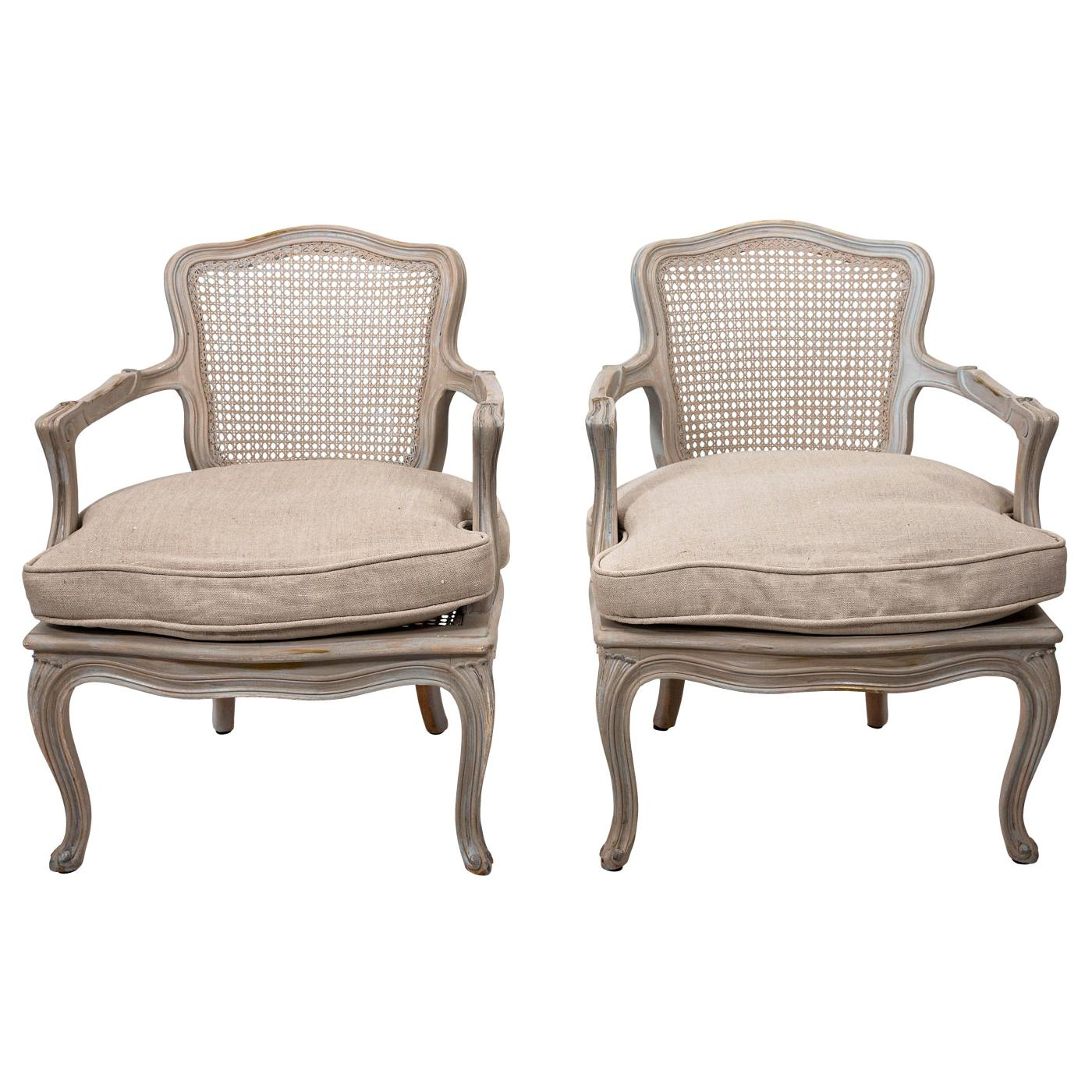 20th Century Pair of Louis XV Style Cane Back Armchairs