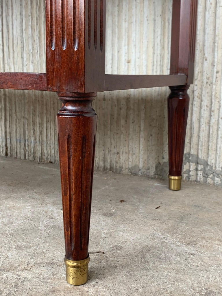 20th Century Pair of Louis XVI Style Marble-Top, Bronze and Walnut Nightstands For Sale 4