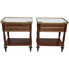 20th Century Pair of Louis XVI Style Marble-Top, Bronze and Walnut Nightstands