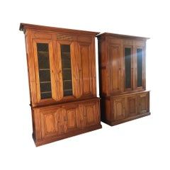 20th Century Pair of Louis XVI Style Walnut and Marquetry Bibliotheque