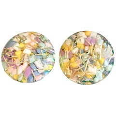 20th Century Pair Of Lucite Gold Fleck Cased Confetti Earrings