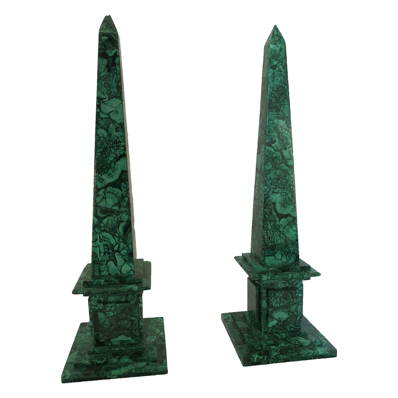 20th Century Pair of Malachite Obelisk