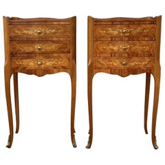 20th Century Pair of Marquetry Walnut Bedside, Nightstands Tables with Drawers