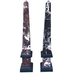 20th Century Pair of Mid-Century Modern Italian Marble Obelisks