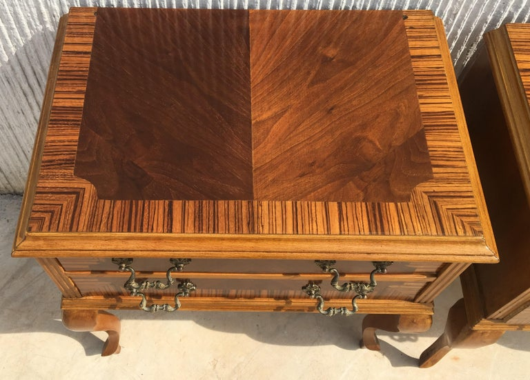 20th Century Pair of Mid-Century Modern Nightstands with Two Drawers, Italy In Good Condition For Sale In Miami, FL