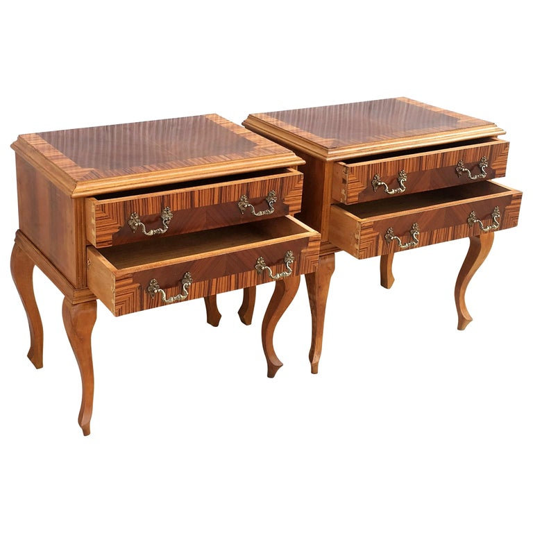 20th Century Pair of Mid-Century Modern Nightstands with Two Drawers, Italy For Sale