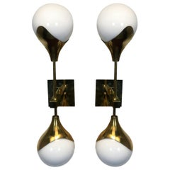 20th Century Pair of Midcentury Brass and Opaline Appliques, 1970s