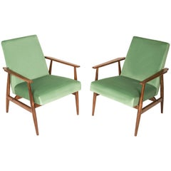 20th Century Pair of Mint Green Dante Armchairs, H. Lis, 1960s