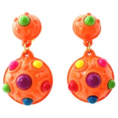 "20th Century Pair Of MOD Gold & Thermoplastic ""Dot"" Dangle Earrings"