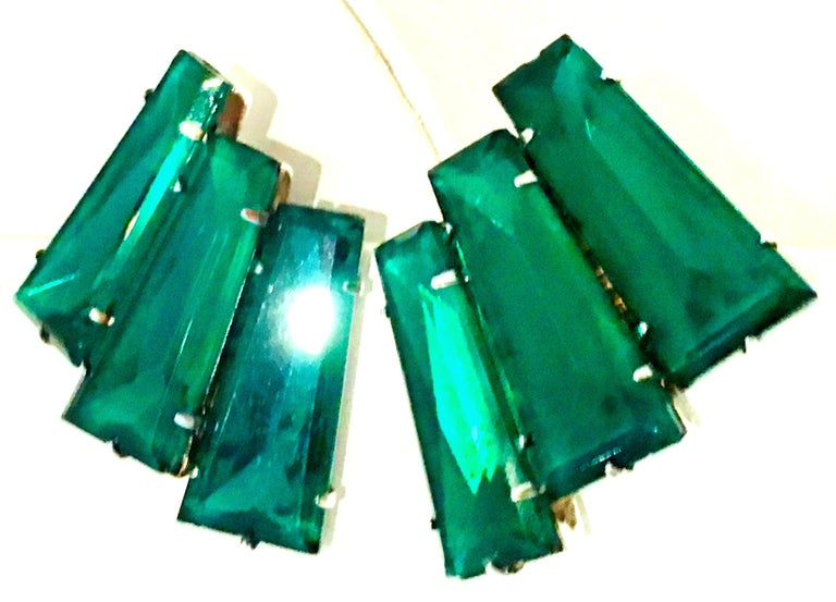 Women's or Men's 20th Century Pair Of Monumental Art Deco Style Austrian Crystal Emerald Earrings For Sale