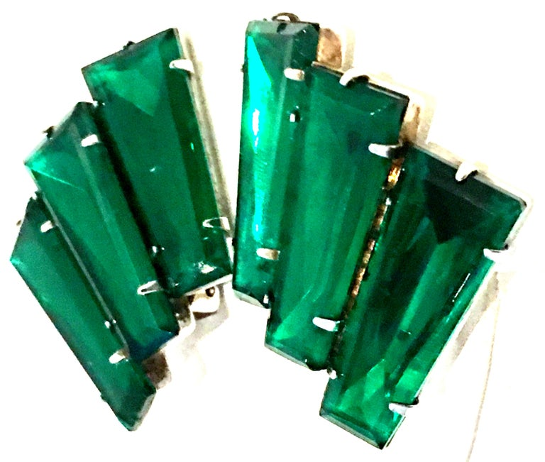 20th Century Pair Of Monumental Art Deco Style Austrian Crystal Emerald Earrings For Sale 1