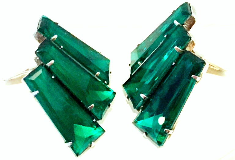 20th Century Pair Of Monumental Art Deco Style Austrian Crystal Emerald Earrings For Sale 2