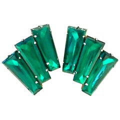 20th Century Pair Of Monumental Art Deco Style Austrian Crystal Emerald Earrings