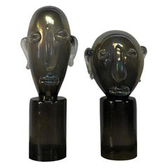 20th Century Pair of Murano Heads in the Manner of Pablo Picasso