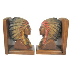 20th Century Pair of Native American Nutwood Bookends
